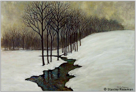 "Landscape painting by Stanley Roseman , ""The Source, a Winter Landscape,"" 2008, oil on canvas, Private collection, Pennsylvania. © Stanley Roseman"