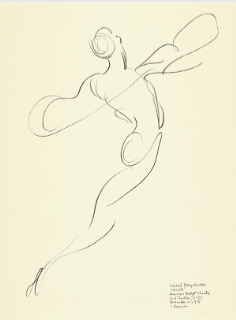 "Drawing by Stanley Roseman of Mikhail Baryshnikov as Prince Albrecht, ""Giselle,"" American Ballet Theatre, 1975, Albertina, Vienna"