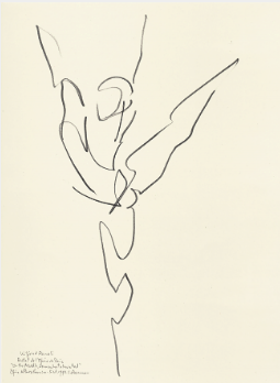 "Drawing by Stanley Roseman of Paris Opera star dancer Wilfried Romoli, ""In the Middle, Somewhat Elevated,"" 1993, Palais des Beaux-Arts, Lille"