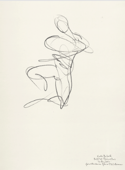 "Drawing by Stanley Roseman of Paris Opera star dancer Kader Belarbi as the Indian warrior Solor, ""La Bayadere,"" 1993, Teylers Museum, Haarlem"