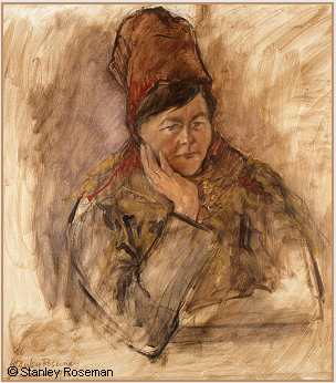 Painting by Stanley Roseman of the Saami woman Ris'ten, Lappland, 1976, Collection Ronald Davis. © Stanley Roseman