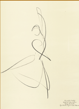 "Drawing by Stanley Roseman of Paris Opera star dancer Elisabeth Platel, ""Allegro Brillante,"" 1996, Bibliotheque Nationale de France, Paris."