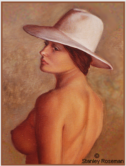 "Painting by Stanley Roseman ""Female Nude wearing a white Hat"" (detail), 1974, oil on canvas, Private collection, England. © Stanley Roseman"