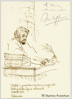 "Pen and ink drawing by Stanley Roseman of James McCracken as Otello in Franco Zeffirelli's production of ""Otello,"" Metropolitan Opera, 1972. Drawing autographed and inscribed, ""To Stanley, with admiration, Franco Zeffirelli."" © Stanley Ros"