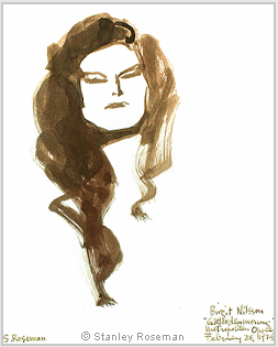 Portrait by Stanley Roseman of Birgit Nilsson, 1974, brush, bistre ink, and wash, Royal Academy of Music, Stockholm. © Stanley Roseman
