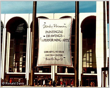 "Lincoln Center Plaza with the banner announcing the exhibition ""Stanley Roseman - The Performing Arts in America"" at the Library and Museum for the Performing Arts, Lincoln Center, New York City, 1977. © Ronald Davis"