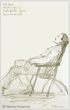 "Drawing by Stanley Roseman of Sir Peter Pears as Aschenbach in Benjamin Britten's opera ""Death in Venice,"" 1974, Metropolitan Opera. Collection Thomas Mann Archives, Zurich. © Stanley Roseman"