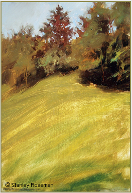 "Landscape by Stanley Roseman, ""August Afternoon - A Pasture on the Edge of an Alpine Wood,"" 1991, Private collection, Geneva. © Stanley Roseman"