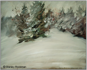 "Landscape by Stanley Roseman, ""Spring Snowstorm - On the Edge of an Alpine Wood,"" 1989, Collection of the artist. © Stanley Roseman"