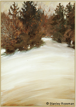 "Landscape by Stanley Roseman, ""Alpine Snowscape in Spring,"" 1989, oil on panel, Private collection, Basel. © Stanley Roseman"