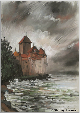 "Drawing by Stanley Roseman, ""Château de Chillon, Approaching Storm"" 2005, chalks and pastels, Private collection, New York. © Stanley Roseman"