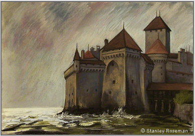 "Drawing by Stanley Roseman, ""Château de Chillon,"" 2006, chalks and pastels, Private collection, Geneva. © Stanley Roseman"