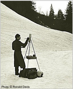 Stanley Roseman painting in an Alpine pasture above Lake Geneva, spring 1988. Photo © Ronald Davis