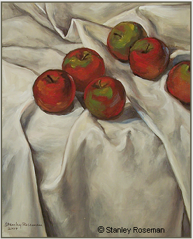 "Still life by Stanley Roseman, ""Apples on a White Tablecloth,"" 2007, oil on canvas. © Stanley Roseman."