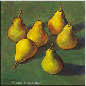 "Still life by Stanley Roseman, ""Pears on a Green Tablecloth,"" 2007, oil on canvas, Private collection, London. © Stanley Roseman."