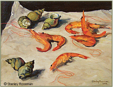 "Still life by Stanley Roseman, ""Still Life with Shrimps and Sea Snails,"" 2006, oil on canvas, Private collection, Michigan. © Stanley Roseman."