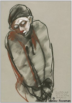 "Drawing by Stanley Roseman of Howard Buten as ""Buffo,"" Theatre le Ranelagh, Paris, 1994, Teylers Museum, Haarlem"