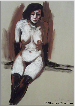 "Drawing by Stanley Roseman ""Rosaline, seated Female Nude,"" 1997, Paris, chalks on paper, Collection of the artist. © Stanley Roseman"
