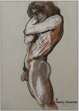 "Drawing by Stanley Roseman ""Christophe, standing Male Nude in Profile,"" 1997, Paris, chalks on paper. Private collection, Switzerland. © Stanley Roseman"