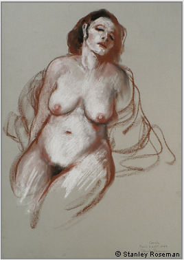 "Drawing by Stanley Roseman ""Carole, seated Female Nude,"" 1997, Paris, chalks on paper. Private collection, France. © Stanley Roseman"