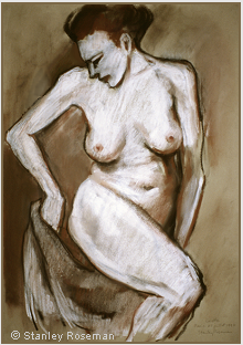 "Drawing by Stanley Roseman ""Colette, Female Nude with Drapery,"" 1997, Paris, chalks on paper. Private collection, Switzerland. © Stanley Roseman"