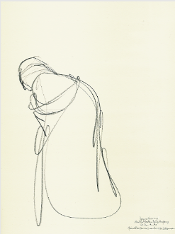 "Drawing by Stanley Roseman entitled ""Joyce Herring,"" ""El Penitente,"" 1991, pencil on paper, Martha Graham Dance Company. Private collection, France. © Stanley Roseman"