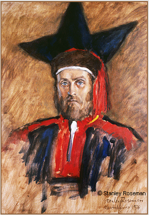 Painting by Stanley Roseman of Regnor, President of the Norske Samers Riksforbund (Norwegian Saami Association) (1971-1973). Roseman painted the portrait in Lappland, 1976. Private collection, New York. © Stanley Roseman