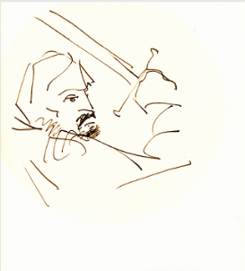 "Pen and bistre ink drawing by Stanley Roseman of Sherrill Milnes in the Metropolitan Opera production of Verdi's ""Macbeth,"" 1974, Private collection, New York."