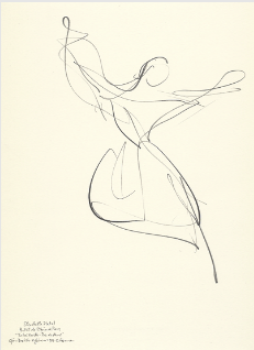 "Drawing by Stanley Roseman of Paris Opera star dancer Elisabeth Platel, ""Tchaikovsky Pas de Deux,"" 1996, Musee d'Art Moderne et Contemporain, Strasbourg."