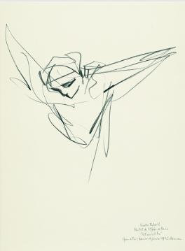 "Drawing by Stanley Roseman of Paris Opera star dancer Kader Belarbi, ""Petrouchka,"" 1994, British Museum, London."