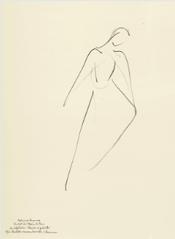 "Drawing by Stanley Roseman of prima ballerina Patricia Ruanne, ""Romeo and Juliet,"" 1995, Palais des Beaux-Arts, Lille."
