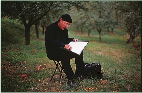 Stanley Roseman drawing in an orchard in France, 2009. Photo by Ronald Davis.