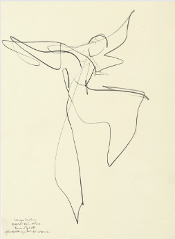 "Drawing by Stanley Roseman of Paris Opera star dancer Monique Loudieres, ""Romeo and Juliet,"" 1995, British Museum, London."