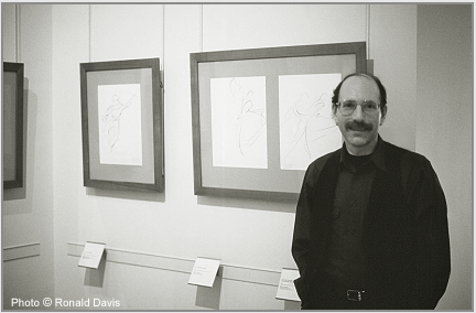 "The artist at the exhibition ""Stanley Roseman - Dessins sur la Danse à l'Opéra de Paris,"" presented by the Bibliothèque Nationale de France, 1996. Photo © Ronald Davis"