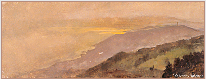 "Landscape by Stanley Roseman, ""Spring Evening - View of Mont-Pelerin and Lake Geneva,"" 1988, Musee des Beaux-Arts, Rouen. © Stanley Roseman"