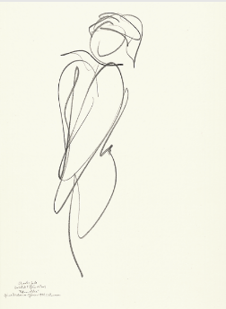"Drawing by Stanley Roseman of Paris Opera star dancer Charles Jude, ""Petrouchka,"" 1994, Collection of the artist."
