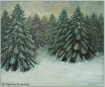 "Stanley Roseman ""Pines on a Wintry Day,"" 2009, oil on canvas, Collection of the artist. © Stanley Roseman"