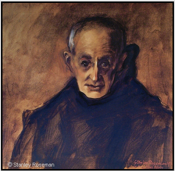 "Painting by Stanley Roseman, ""Dom Henry, Portrait of a Benedictine Monk,"" St. Augustine's Abbey, England, 1978, oil on canvas, Musee des Beaux-Arts, Rouen. © Stanley Roseman"