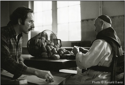 Stanley Roseman drawing a Belgian Trappist monk in the kitchen. Photo © Ronald Davis