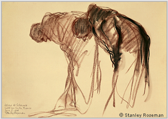 "Drawing by Stanley Roseman, ""Two Monks Bowing,"" Abbaye de Solesmes, France, 1979, chalks on paper, National Gallery of Art, Washington, D.C. © Stanley Roseman"