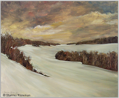 "Stanley Roseman ""Fields and Woodlands in Winter,"" 2006, oil on canvas, Private collection, France. © Stanley Roseman"