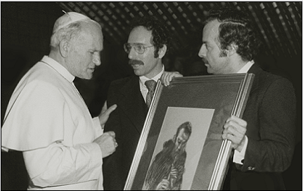 "Pope Saint John Paul II receiving a gift of the drawing ""Brother Florian Playing the Recorder,"" Tyniec Abbey, Poland, from the artist Stanley Roseman and his colleague Ronald Davis, Vatican, 1979."