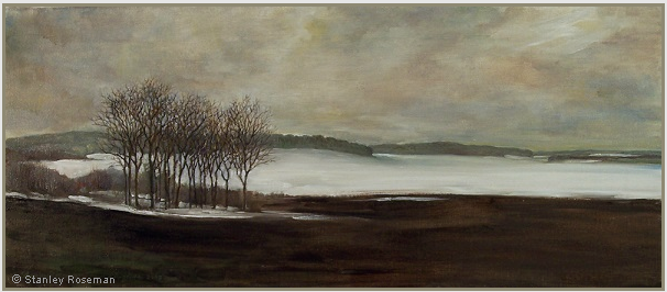 "Landscape painting by Stanley Roseman , ""Winter Landscape in Lorraine,"" 2008, oil on canvas, Private collection, Virginia. © Stanley Roseman"