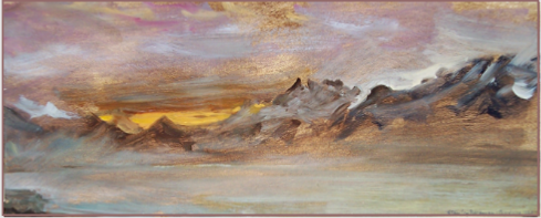 "Landscape by Stanley Roseman, ""December Morning - View from Chardonne Overlooking Lake Geneva,"" 1987, Musee des Beaux-Arts, Rouen. © Stanley Roseman"
