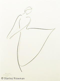 "Drawing by Stanley Roseman of Paris Opéra star dancer Agnès Letestu as Myrtha in ""Giselle,"" 1998, Pencil on paper. Collection of the artist. © Stanley Roseman"