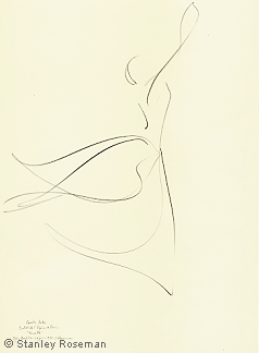 "Drawing by Stanley Roseman of Paris Opera star dancer Carole Arbo, ""Giselle,"" 1995, Pencil on paper, Bibliothèque Nationale de France. © Stanley Roseman"