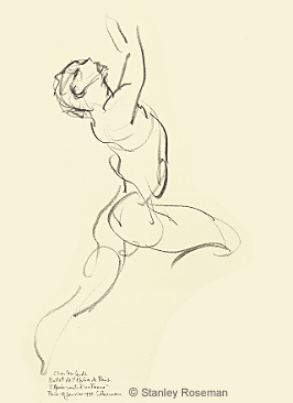 "Drawing by Stanley Roseman of Paris Opéra star dancer Charles Jude in ""L'Après-midi d'un Faune,"" 1990, pencil on paper, Bibliothèque Nationale de France, Paris. © Stanley Roseman"
