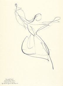 "Drawing by Stanley Roseman of Paris Opéra star dancer Elisabeth Platel, ""Tchaikovsky Pas de Deux,"" 1996, pencil on paper, Musée d'Art Moderne et Contemporain, Strasbourg. © Stanley Roseman"