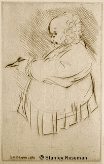 "Drypoint engraving by Stanley Roseman of Sir Geraint Evans as Falstaff in Verdi's ""Falstaff,"" 1976, Lyric Opera of Chicago. National Museum of Wales, Cardiff. © Stanley Roseman"