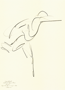 "Drawing by Stanley Roseman of Paris Opéra star dancer Kader Belarbi as Duke Albrecht in ""Giselle,"" 1993, pencil on paper, Bibliothèque Nationale de France, Paris. © Stanley Roseman"